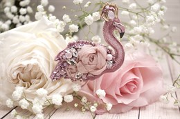 "Материалы для создания брошки ""Королевский фламинго"""